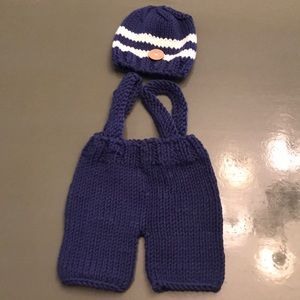 Crocheted baby newborn picture outfit